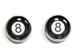 8 Ball Round Stud Earrings