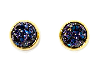 Pink Gold Blue Druzy Crystal Stud Earrings in Gold Plated