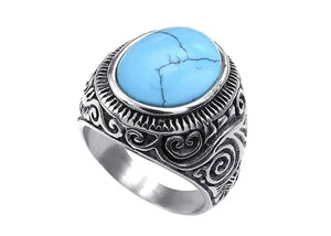 Classic Turquoise Ring in Stainless Steel