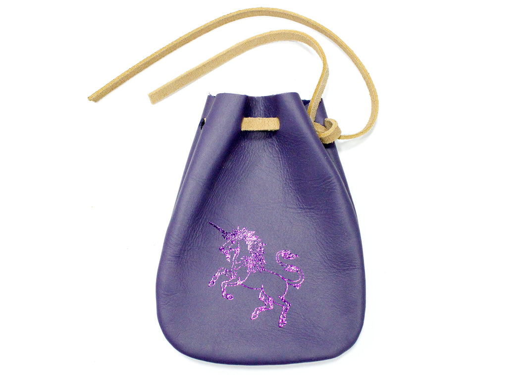 Unicorn Leather Pouch in Purple