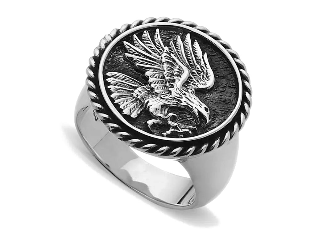 Eagle Coin Signet Ring in Stainless Steel