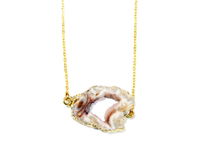 Agate Slice Electroplated Necklace