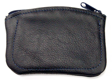 Leather Coin Purse in Navy
