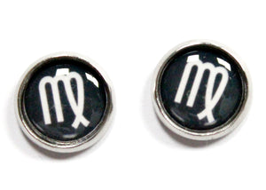 Virgo Zodiac Round Stud Earrings