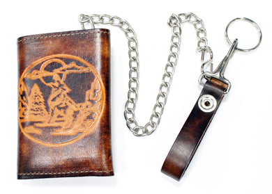 Tri-Fold Trucker Wallet with Embossed Wolf