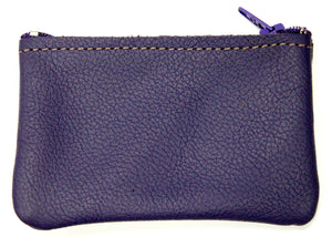 Small Leather Coin Purse in Purple
