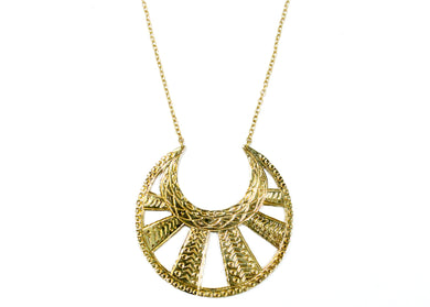 Engraved Moon Necklace in Brass