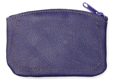 Leather Coin Purse in Purple