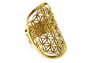 Flower Of Life Ring In Brass