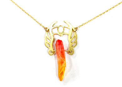 She-Ra Warrior Necklace in Pink-Orange Ombre