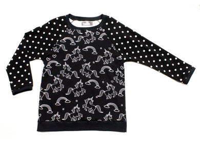 Angled Raglan T-Shirt in Black Unicorn Dots