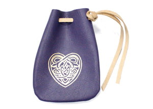 Celtic Heart Leather Pouch in Purple
