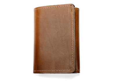 Tri-Fold Leather Wallet in Brown
