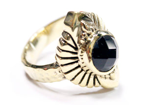 Rebirth Ring in Brass with Faceted Obsidian