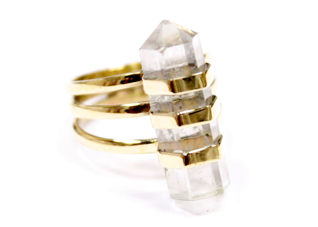 Magic Wand Ring in Brass with Quartz Crystal