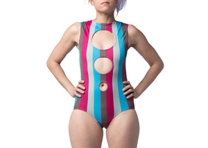 Concentric Swimsuit in Spumoni Stripe
