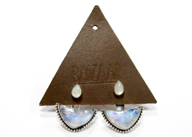 Teardrop Moon Ear Jackets in Sterling Silver with Moonstone