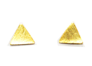 Tiny Triangle Studs in Brushed Gold