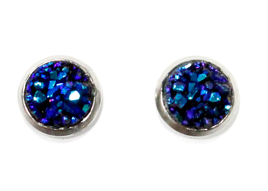 Blue Purple Druzy Crystal Stud Earrings in Stainless Steel