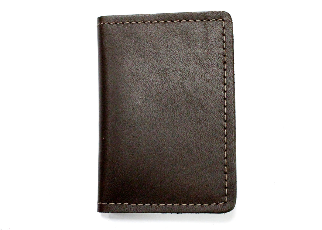 Leather ID & Card Case Wallet in Dark Brown