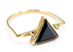 Onyx Triangle Ring In Brass