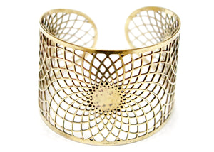 Sacred Geometry Cuff Bracelet in Brass