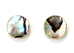 Round Abalone Paua Shell Stud Earrings