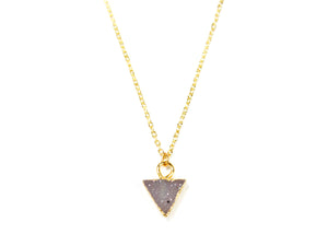 Druzy Triangle Electroplated Necklace