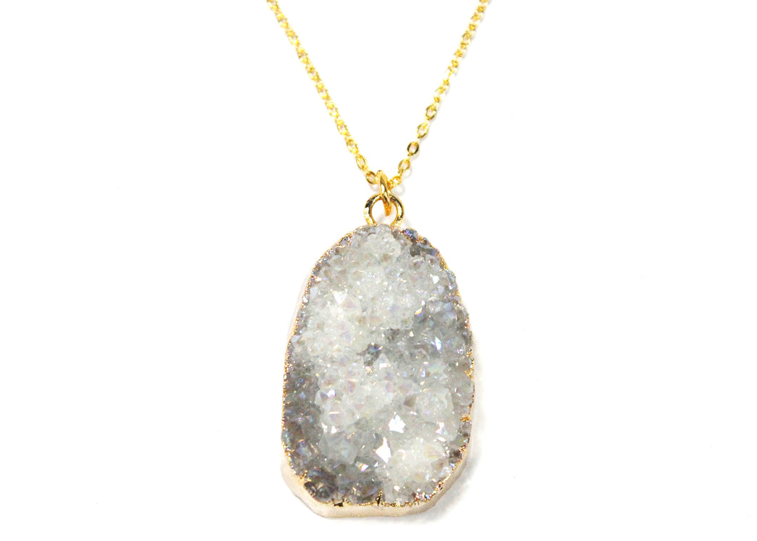White Druzy Nugget Electroplated Necklace
