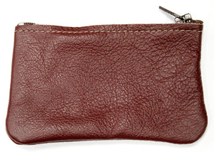 Small Leather Coin Purse in Burgundy