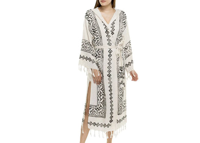 Turkish Hooded Block Print Fringed Robe