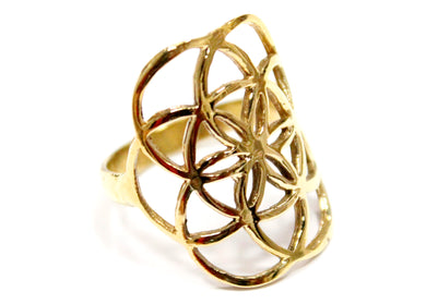 Seed Of Life Ring In Brass