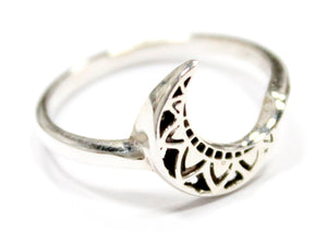 Engraved Moon Ring In Sterling Silver