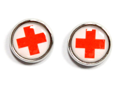 Nurse Cross Round Stud Earrings
