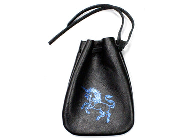 Unicorn Leather Pouch in Black with Blue Accent