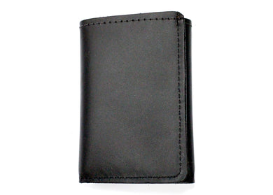 Tri-Fold Leather Wallet in Black