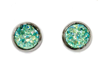 Fresh Mint Druzy Crystal Stud Earrings in Stainless Steel
