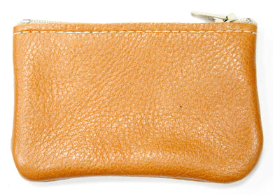 Small Leather Coin Purse in Tan