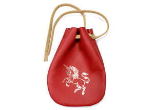 Unicorn Leather Pouch in Red