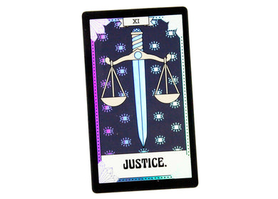 Justice Tarot Card Holographic Sticker