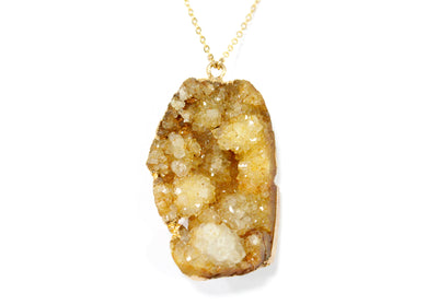 Yellow Druzy Nugget Electroplated Necklace