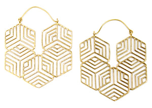 Geo Snowflake Earrings in Brass