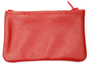 Small Leather Coin Purse in Red