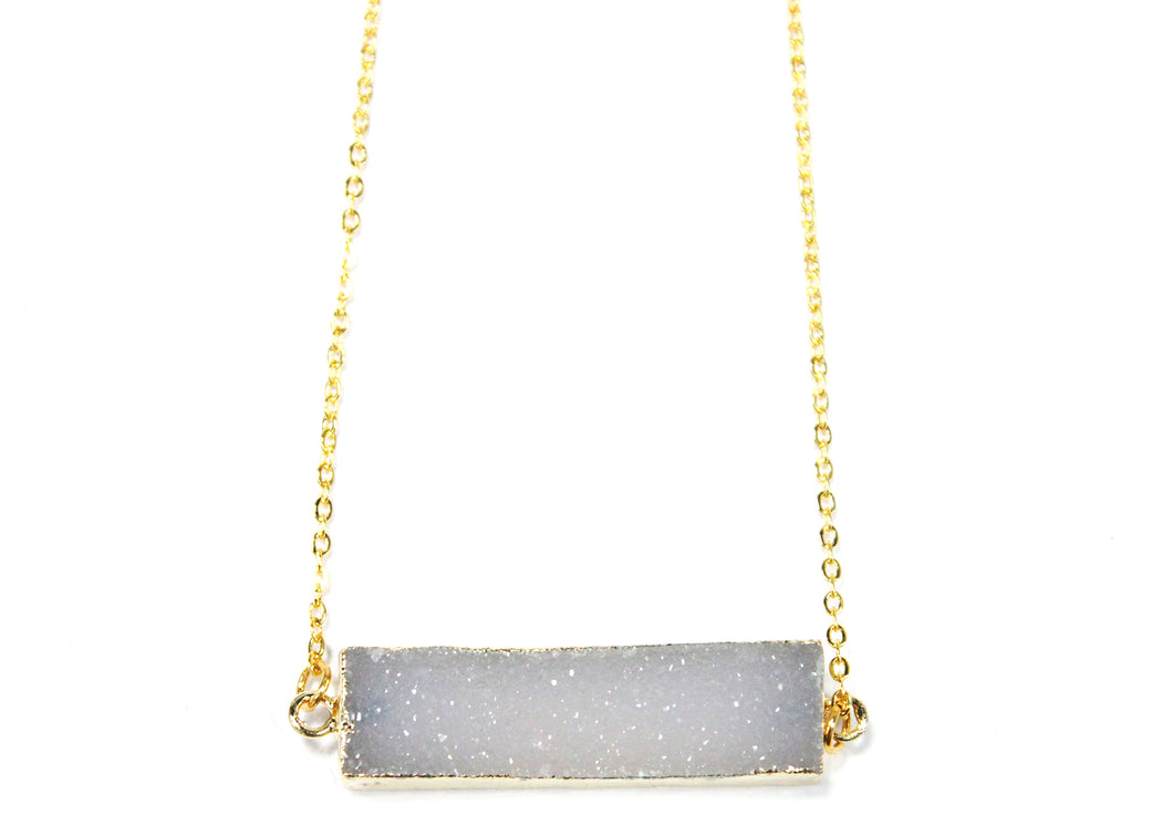 Druzy Bar Electroplated Necklace