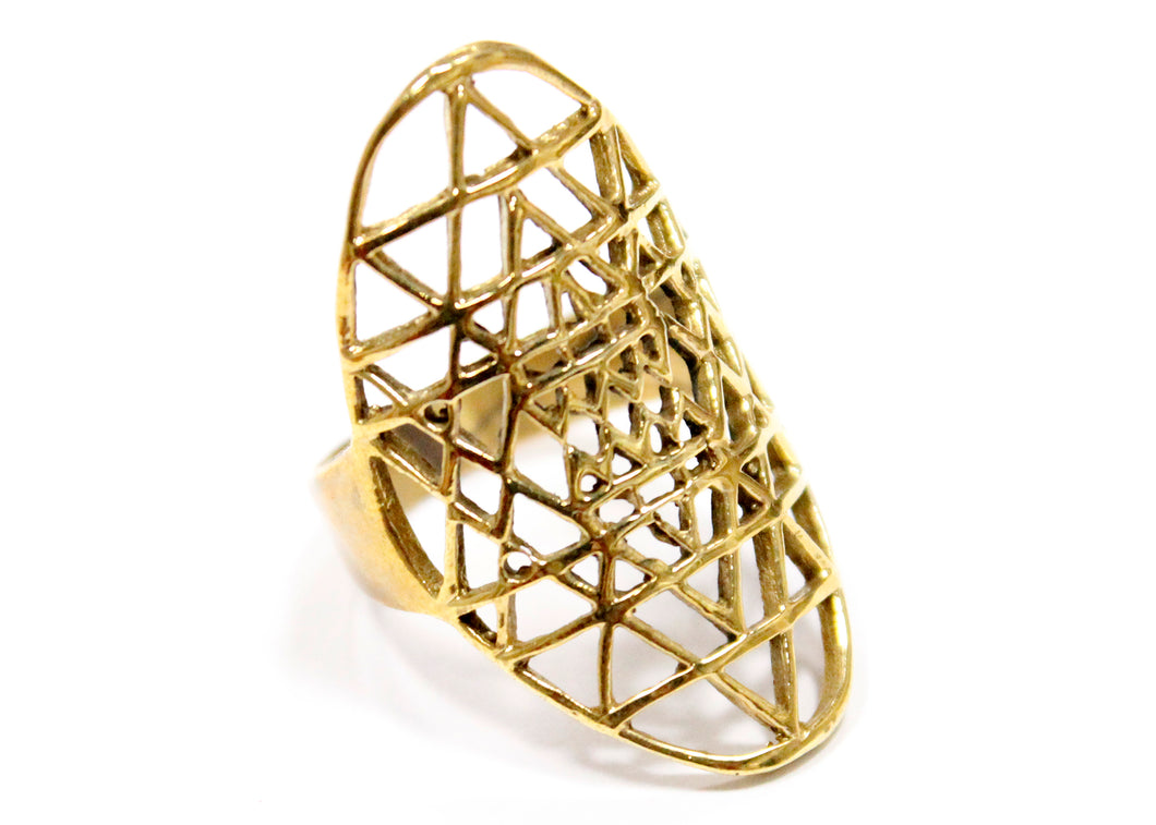 Sacred Triangles Ring In Brass