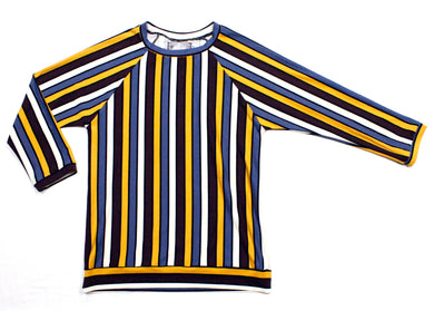 Angled Raglan T-Shirt in Retro Diner Stripe