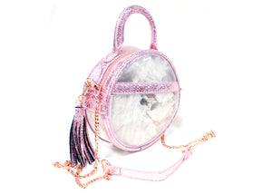 The Roundie Halo Clear Crossbody In Metallic Amethyst