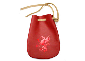 Griffin Leather Pouch in Red