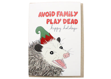 Avoid Family Play Dead Holiday Card