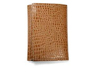 Tri-Fold Leather Wallet in Exotic Tan